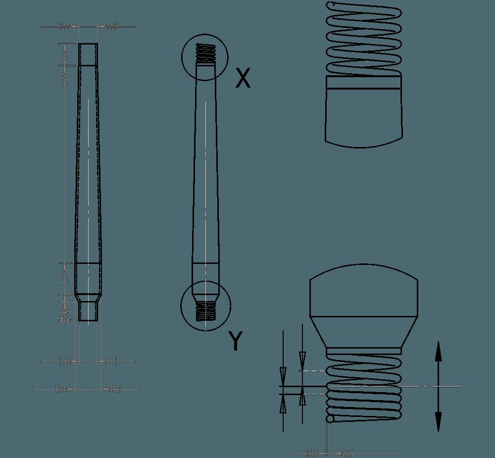 CAD Zeichnung OEM Kurzstabantenne